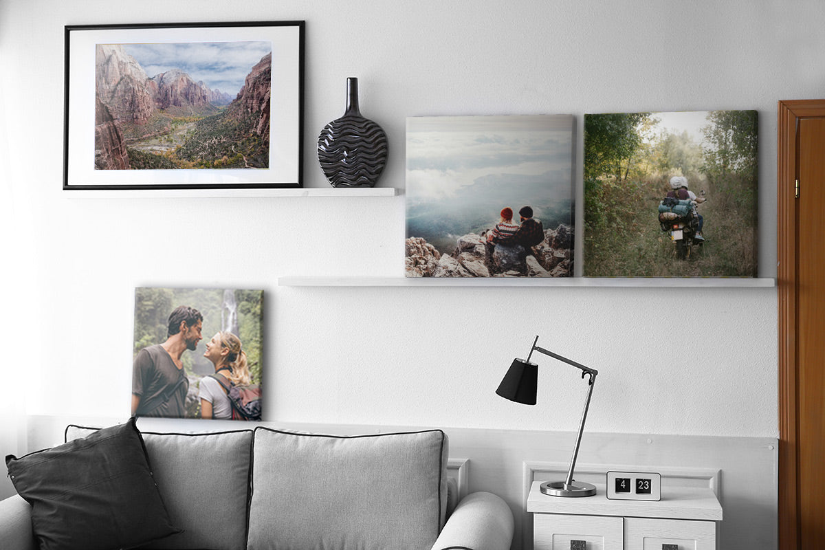 Canvas Prints by Posterjack Canada Displayed on Shelves in Living Room