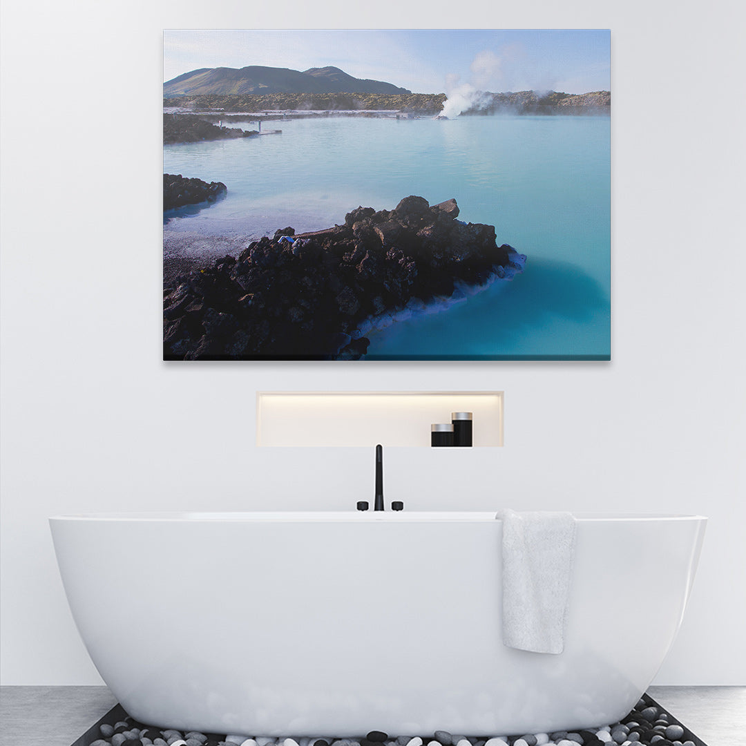 Posterjack Canvas Print Hanging in Bathroom Above Bathtub