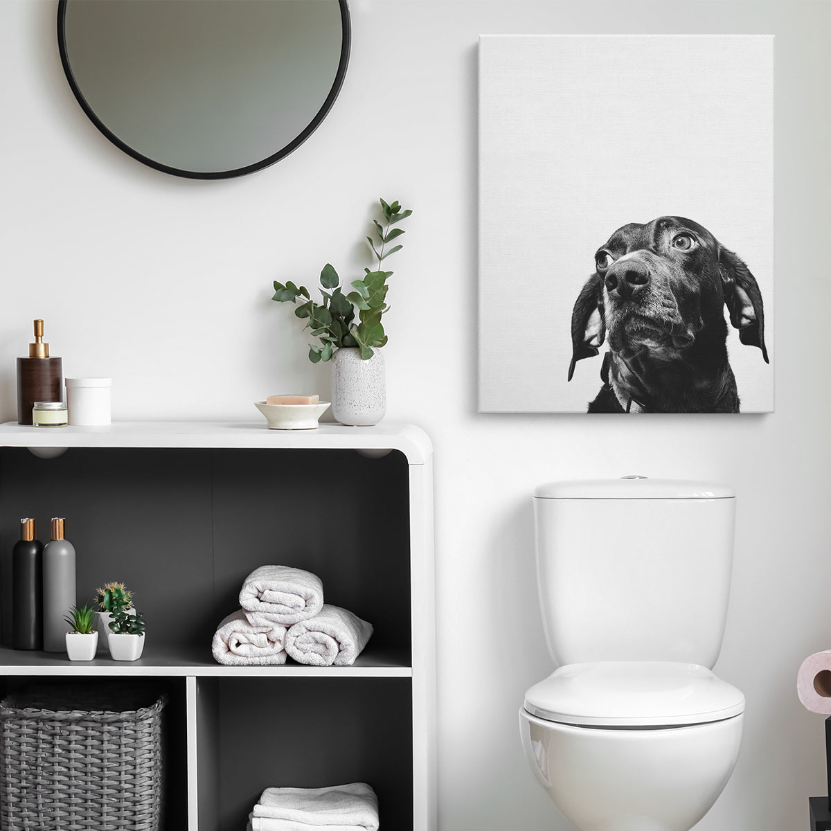 Photo of Dog Printed on Canvas and Hanging in Bathroom Above Toilet