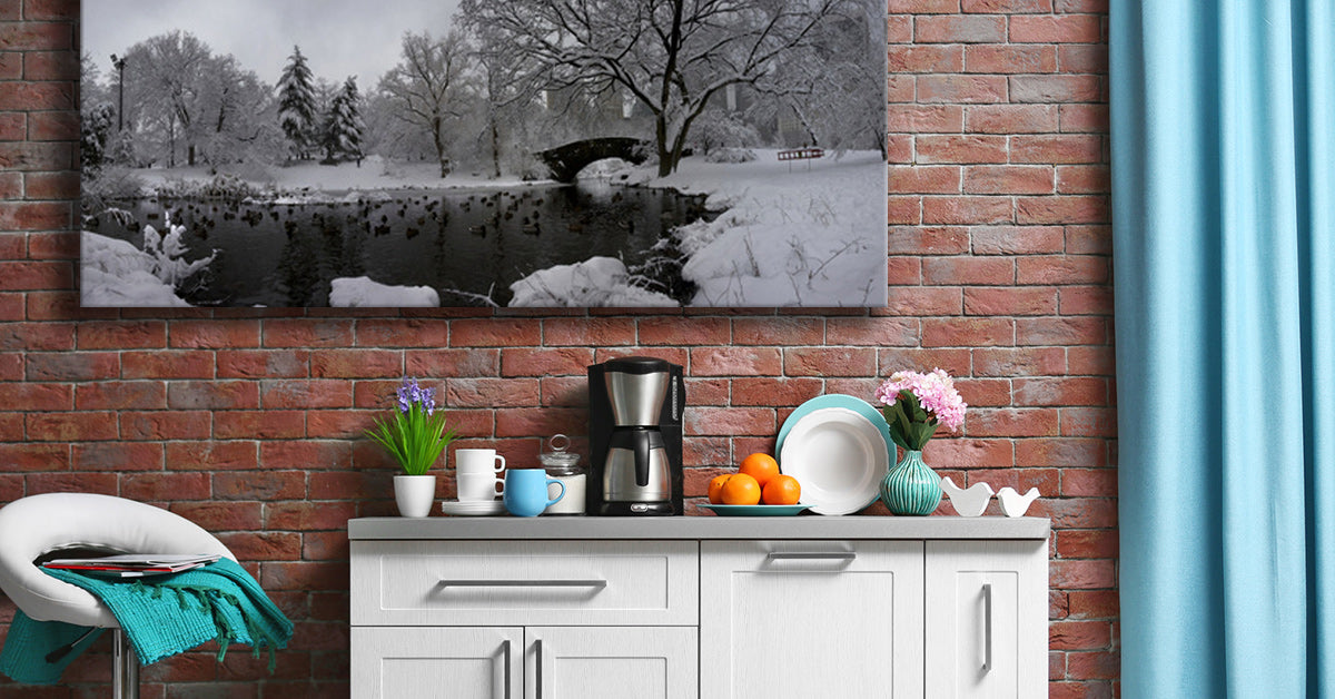 Posterjack Canvas Print Displayed in Kitchen Above Coffee Maker