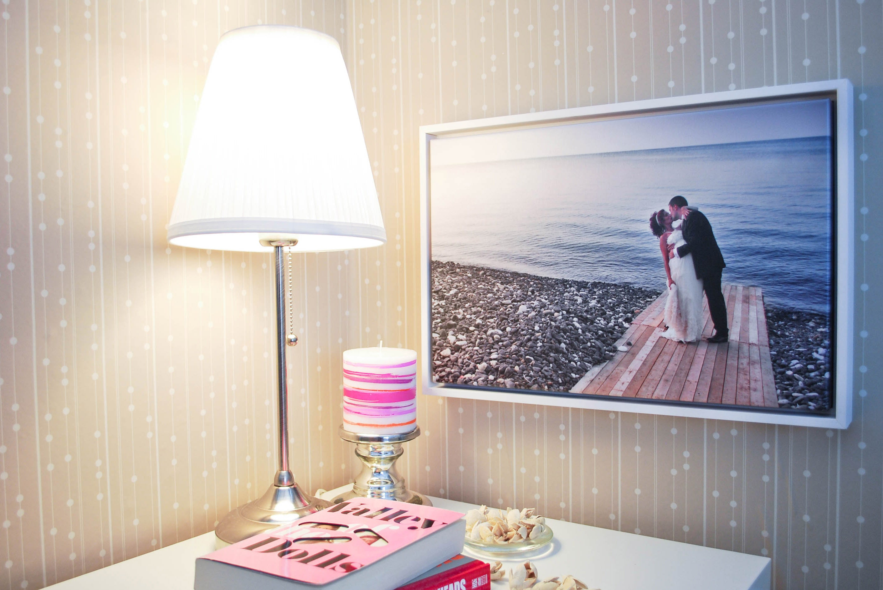 Wedding Photo Printed on Canvas with White Frame