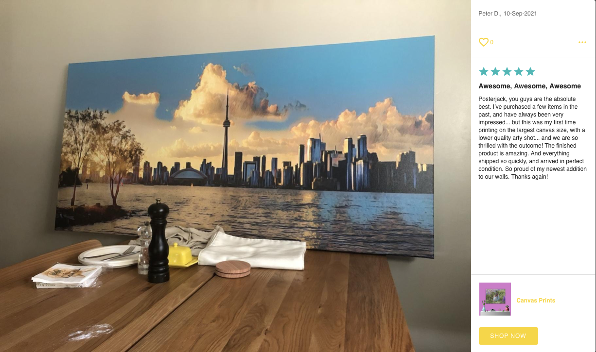Canvas Print Photo and Review by Posterjack Customer - Image of Toronto Skyline