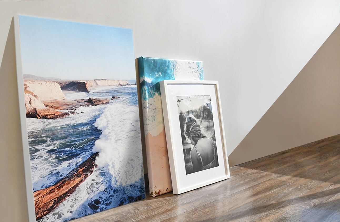 Decorating With Canvas Photo Prints Displayed on The Floor
