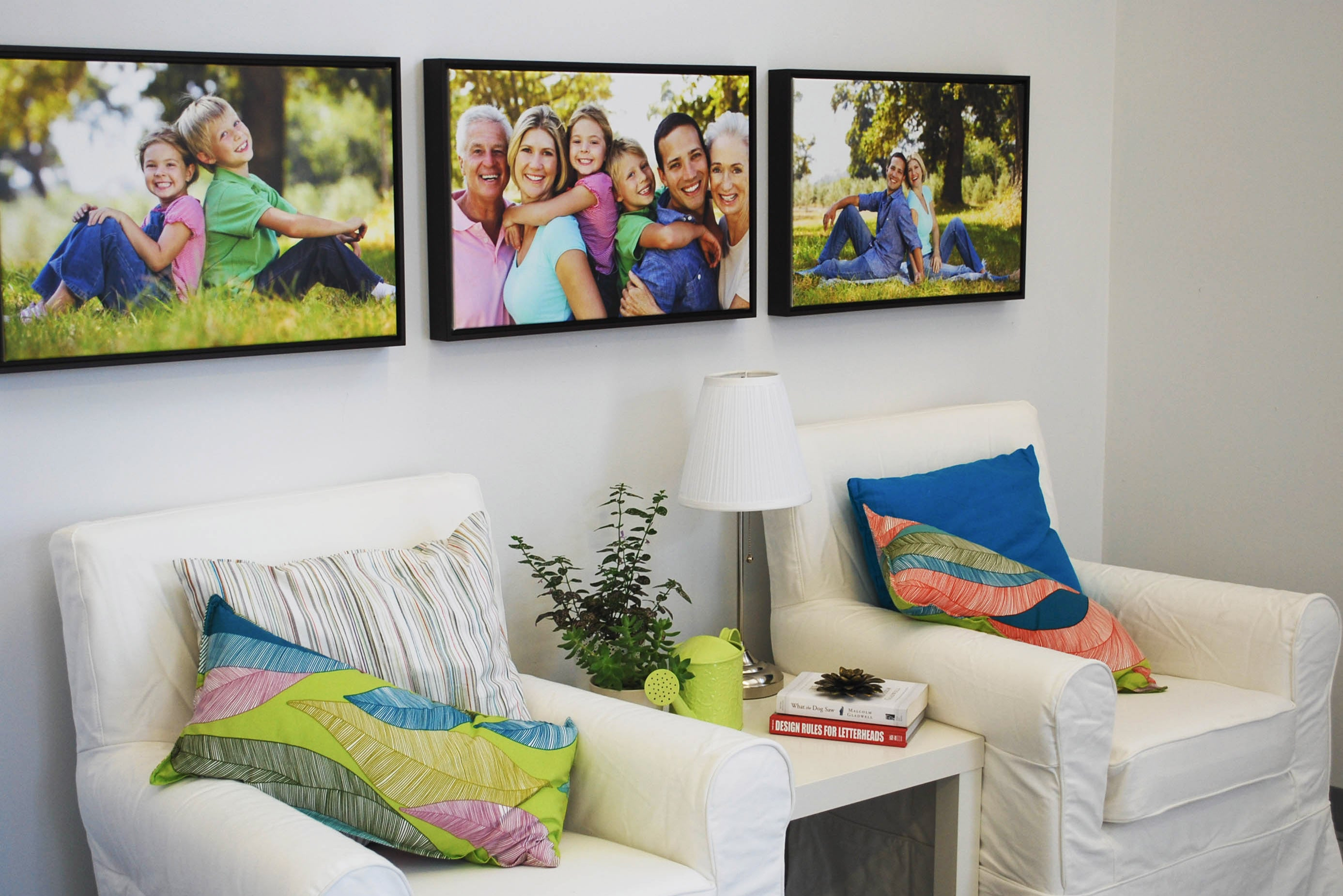 Canvas Prints with Floater Frames on Display in Living Room