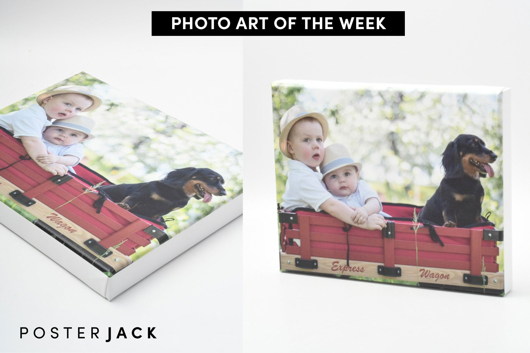 Posterjack Photo Art of The Week Canvas Print of Brothers and Dog in Wagon