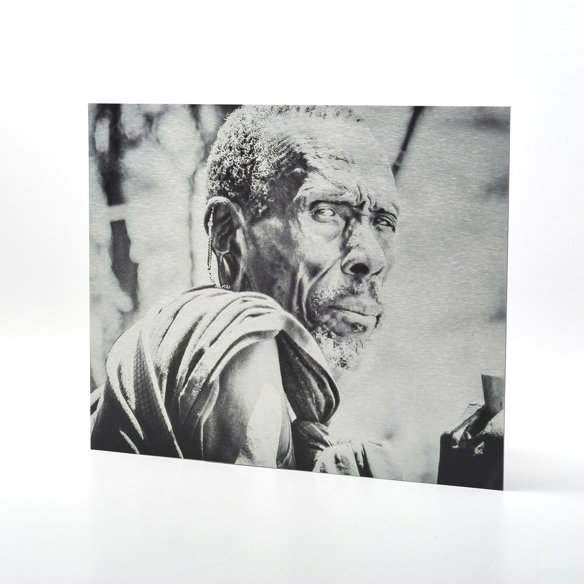Photo of a Man from the Maasai Tribe in Tanzania Printed Directly onto Metal