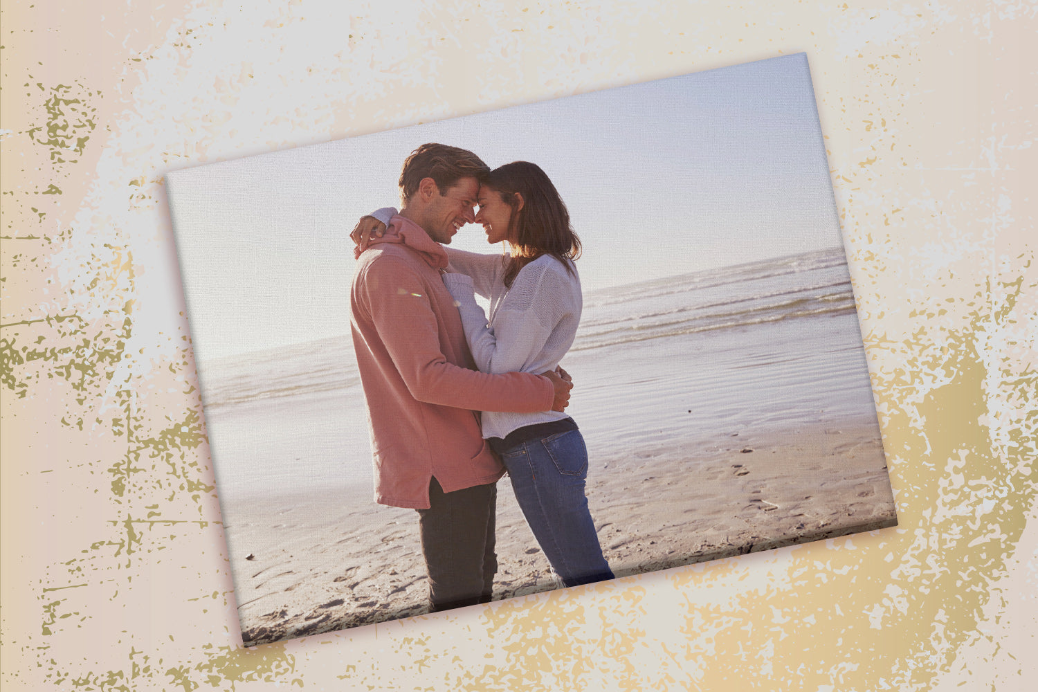 Romantic Photo of Couple on Beach Printed on Canvas by Posterjack
