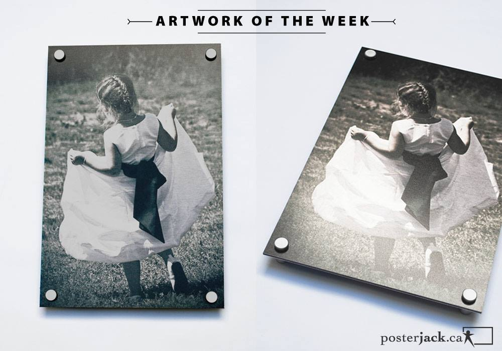 Sweet wedding photo of flower girl printed on a Posterjack Metal Print