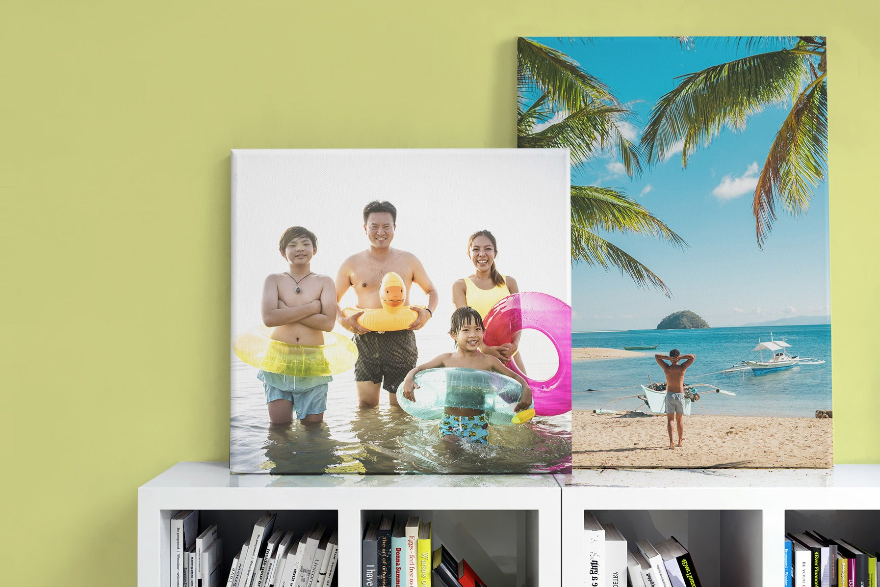 Canvas Photo Prints Displayed on Shelf