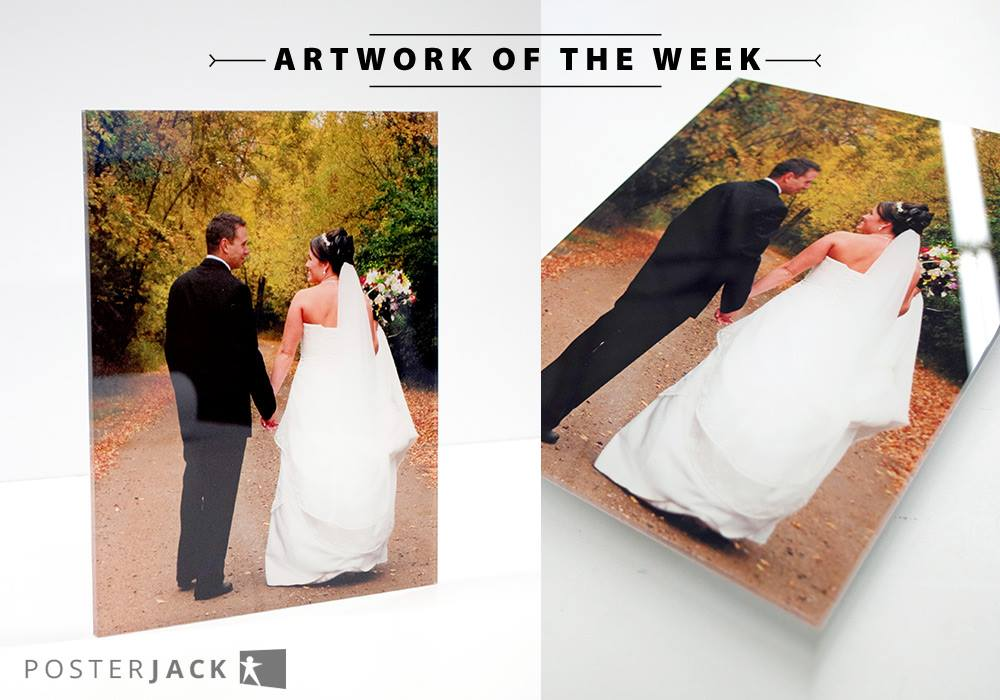 Bride and groom wedding photo turned into a Posterjack Acrylic Print