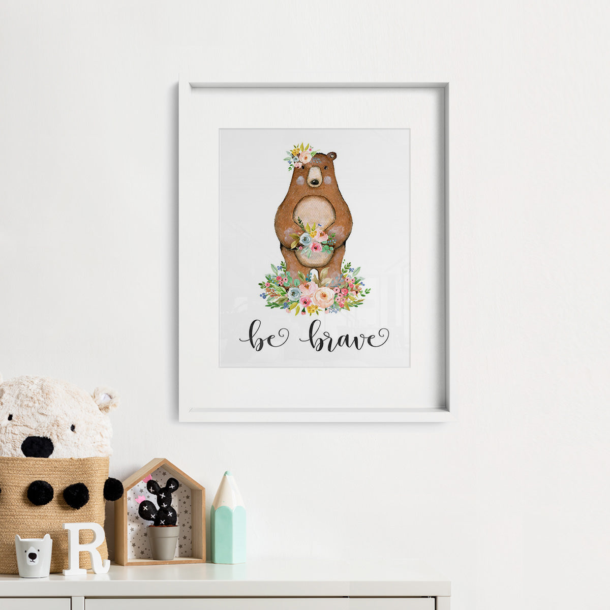 Woodland Animals Bear Print Framed Photo from an Etsy Digital Download