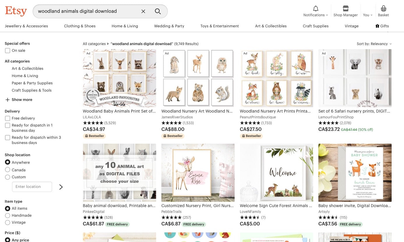 Woodland Animals Digital Downloads Search on Etsy Screenshot