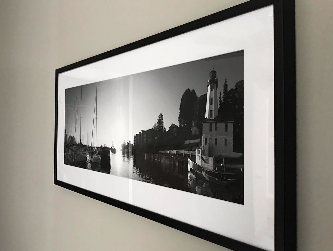 Black & White Framed Panoramic Photo Printed at Posterjack