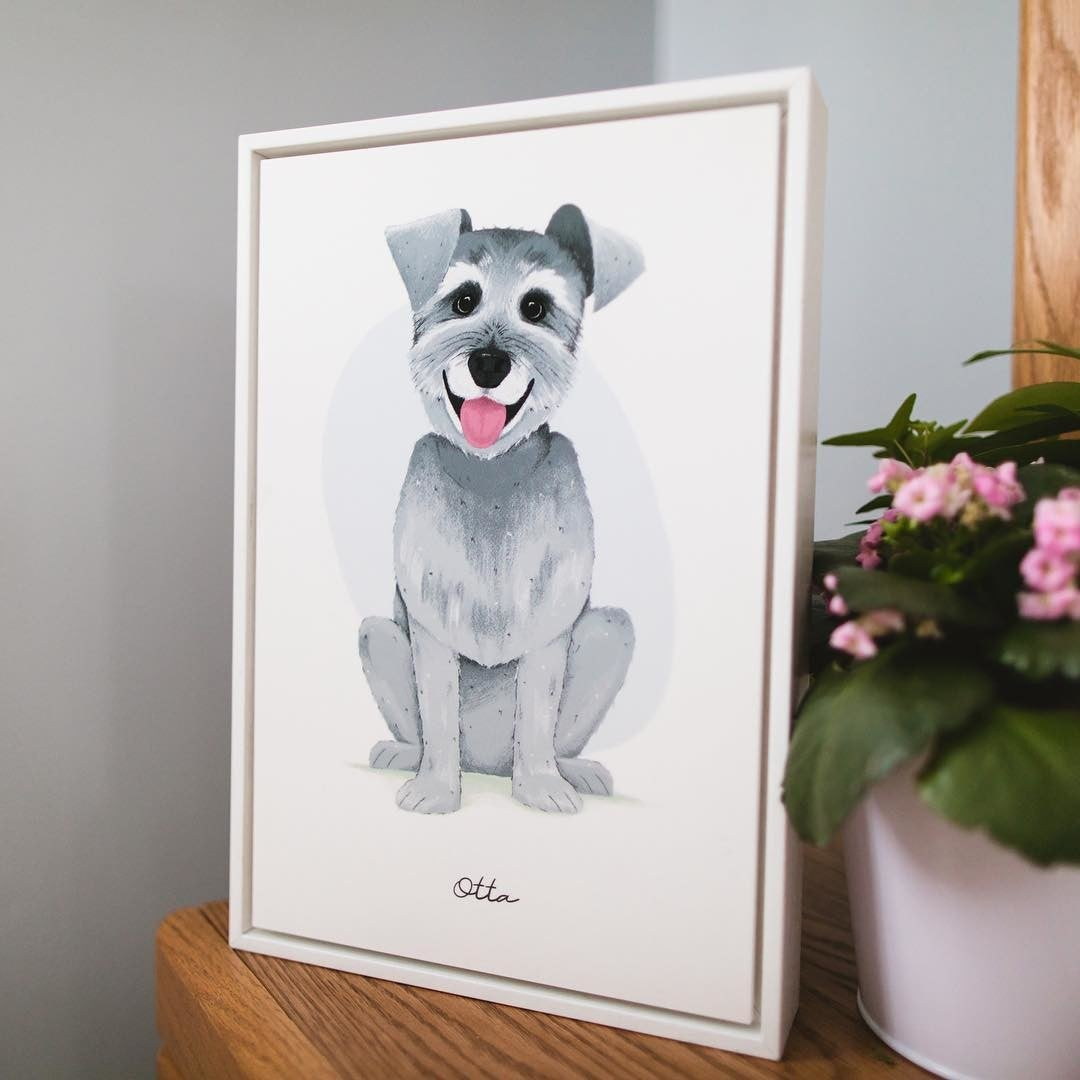 White Gallery Box with Dog Portrait