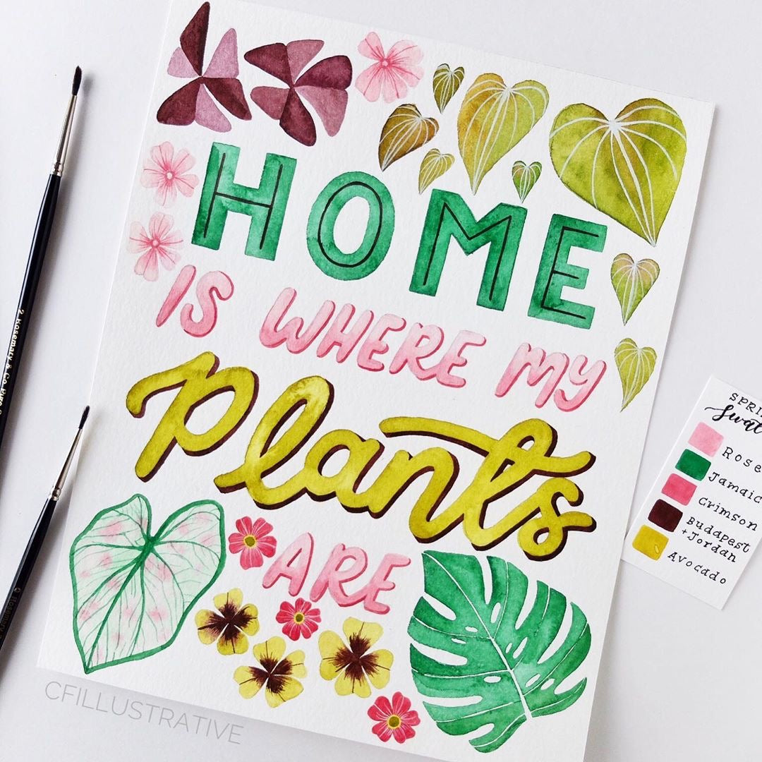 Hand Lettering Watercolour Painting - Home is Where My Plants Are