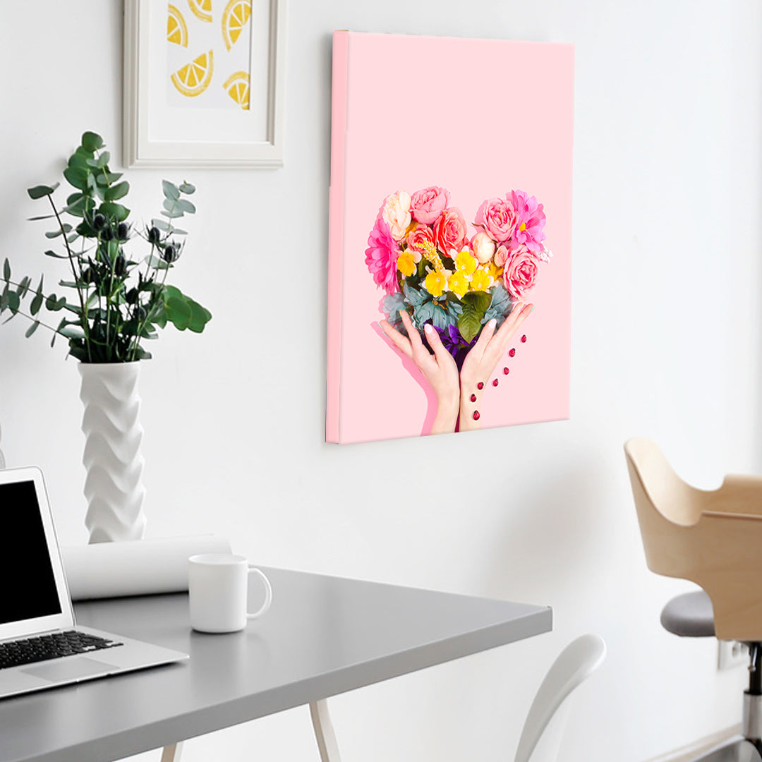 Posterjack Canvas Print of Heart-Shaped Flower Bouquet in Vibrant Pink Colours