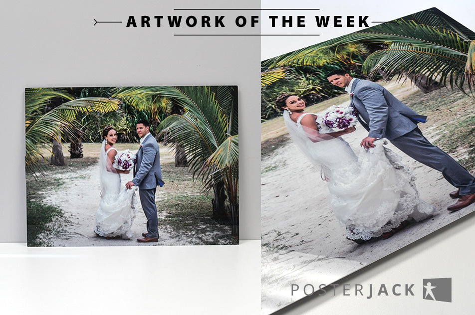 Bride and groom destination wedding photo printed by Posterjack