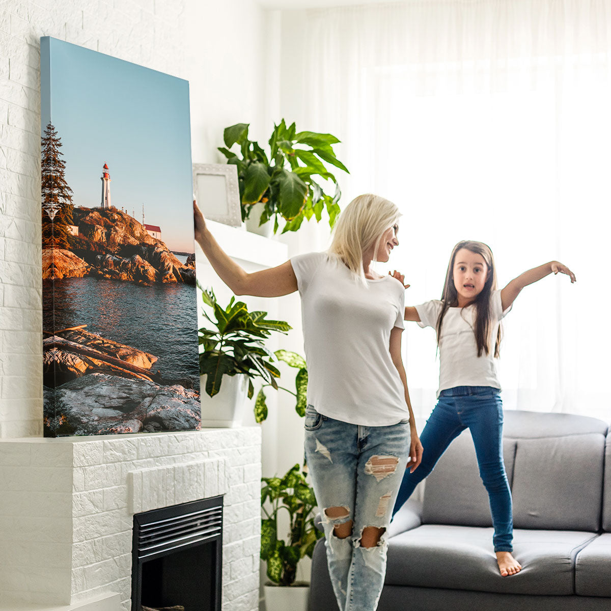 Mother and Daughter Showing Off Their Large Canvas Photo Print Made in Canada by Posterjack