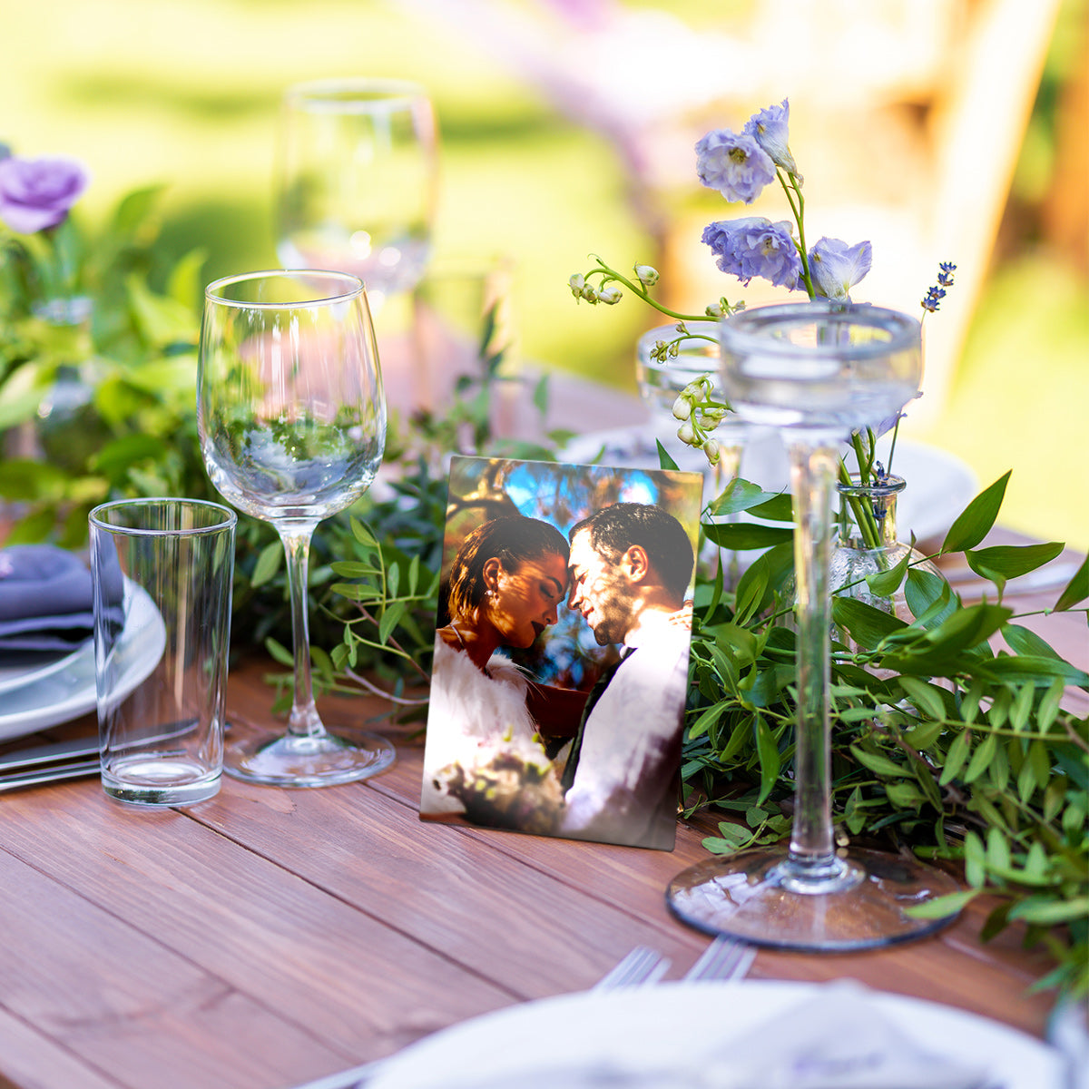 Outdoor Table Decor with a Metal Mini Photo Print