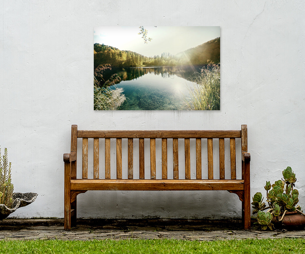 Matte White Metal Print Displayed Outdoors Above a Bench
