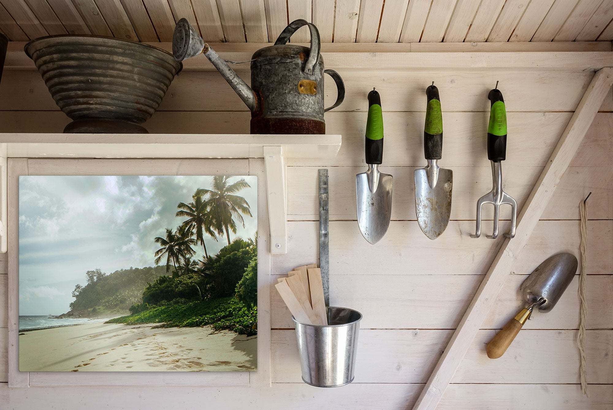 Outdoor Metal Wall Decor HD Metal Print Displayed in Garden Shed