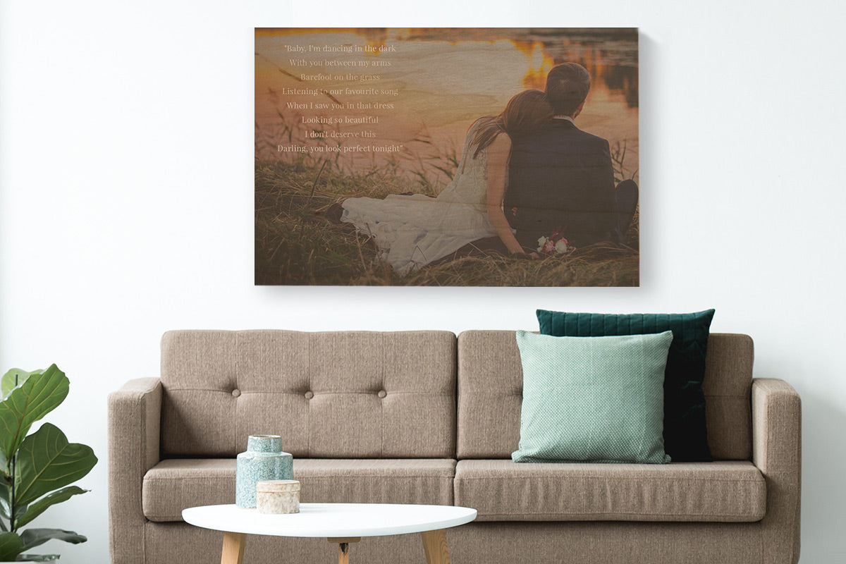 Perfect Song Lyrics and Wedding Photo Printed on Wood