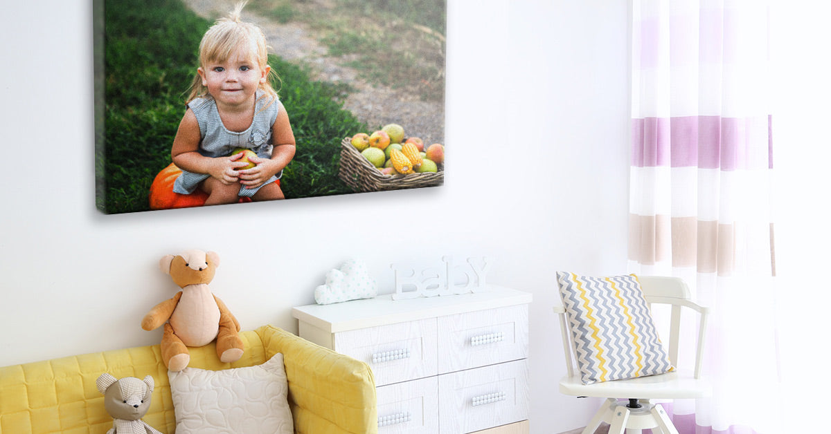 Photo of a child printed on canvas by Posterjack on display in a room