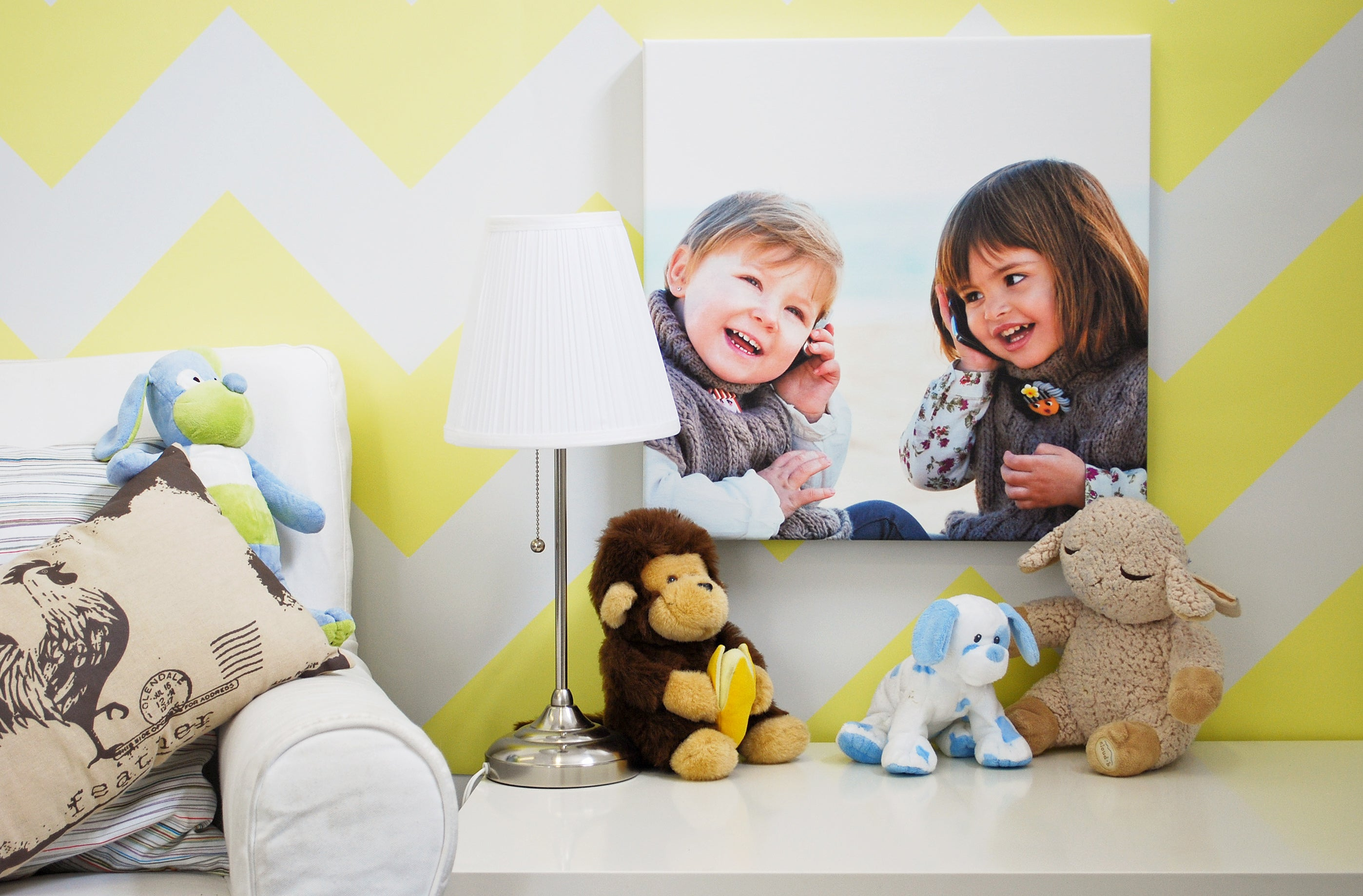 Photo of Kids Printed on Canvas and Displayed in Room
