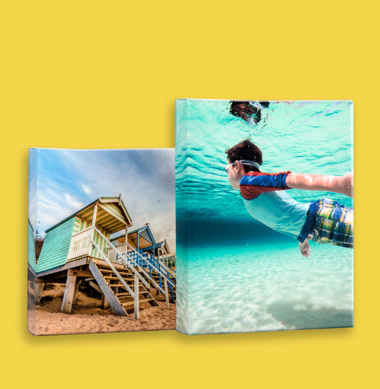 Underwater photo and beach image printed on canvas by Posterjack