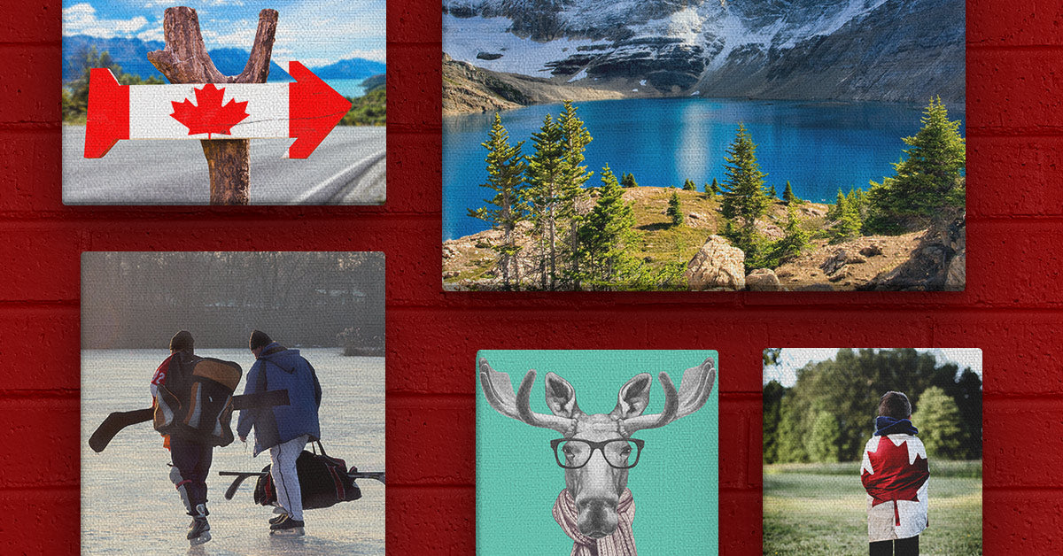 Canadian-themed Posterjack Canvas Prints on display