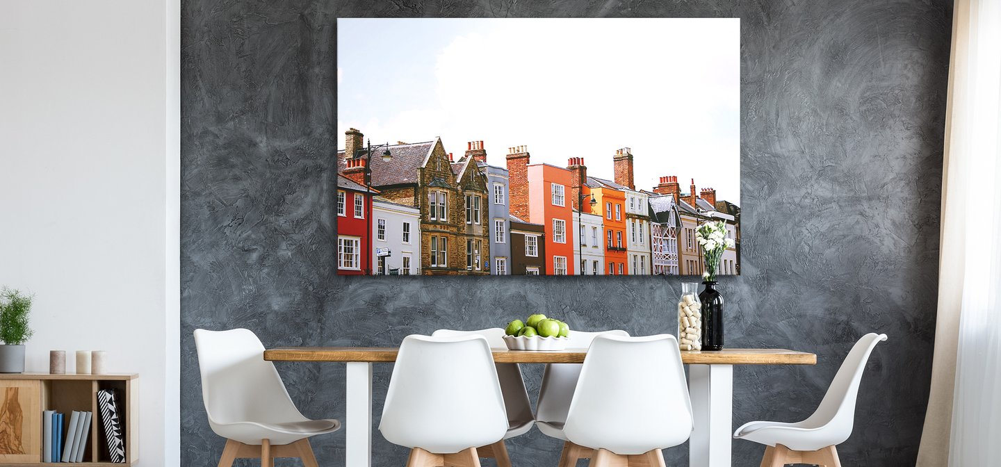Large Posterjack Metal Print Photo Art Hanging Above Table