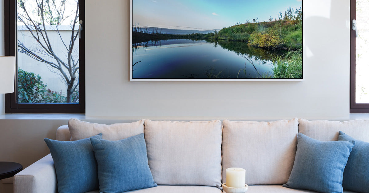 Posterjack Gallery Box Photo Print Displayed on Wall in Living Room