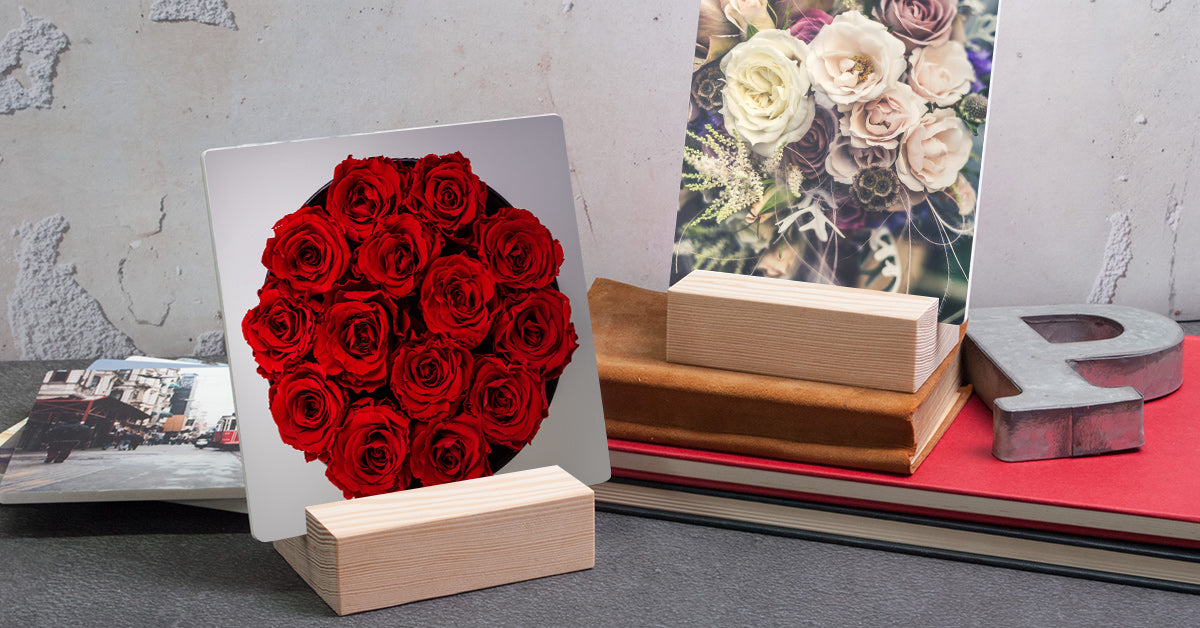 Beautiful Flowers Printed on Posterjack Woodstand Prints