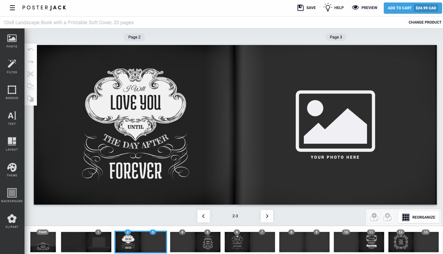 Screenshot of a Photo Book Theme