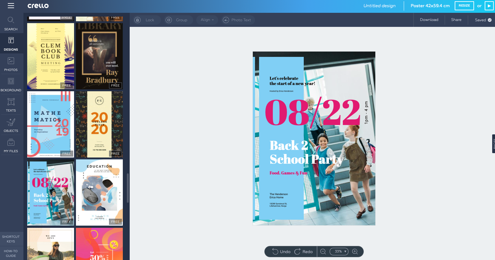 Screenshot of Crello Free Online Poster Making Tool