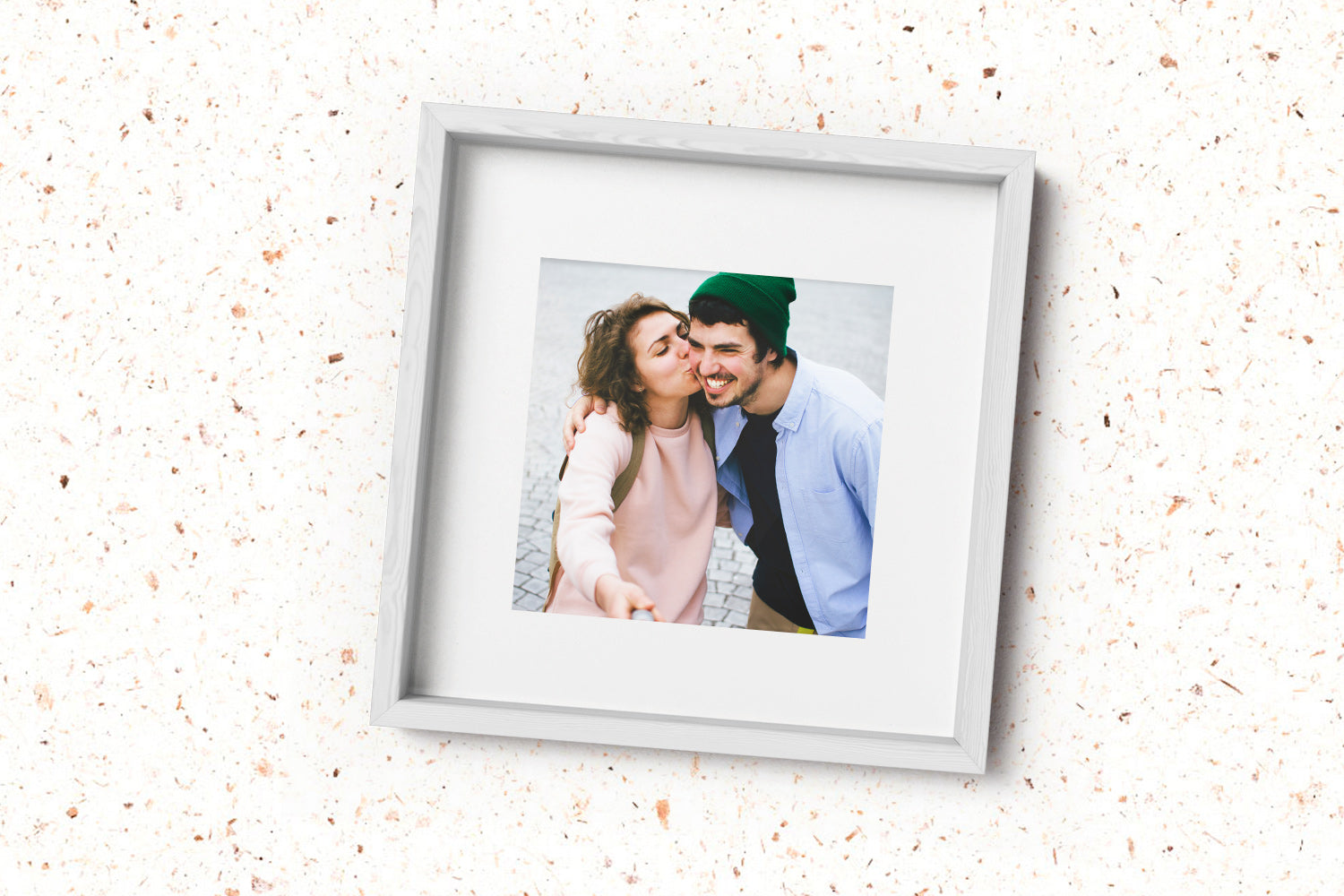 Couples Selfie in Posterjack Loft Framed Print