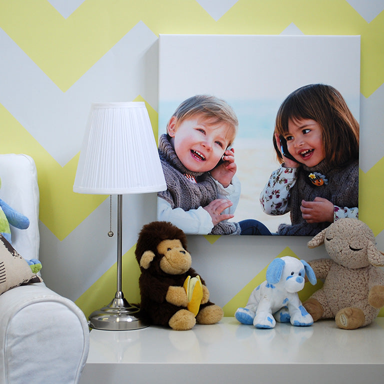 Photo of Siblings Printed on Canvas in Child's Bedroom