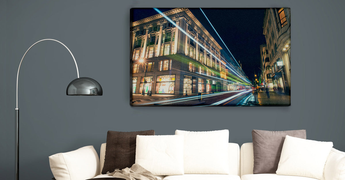 Urban cityscape photo printed on canvas by Posterjack and on display