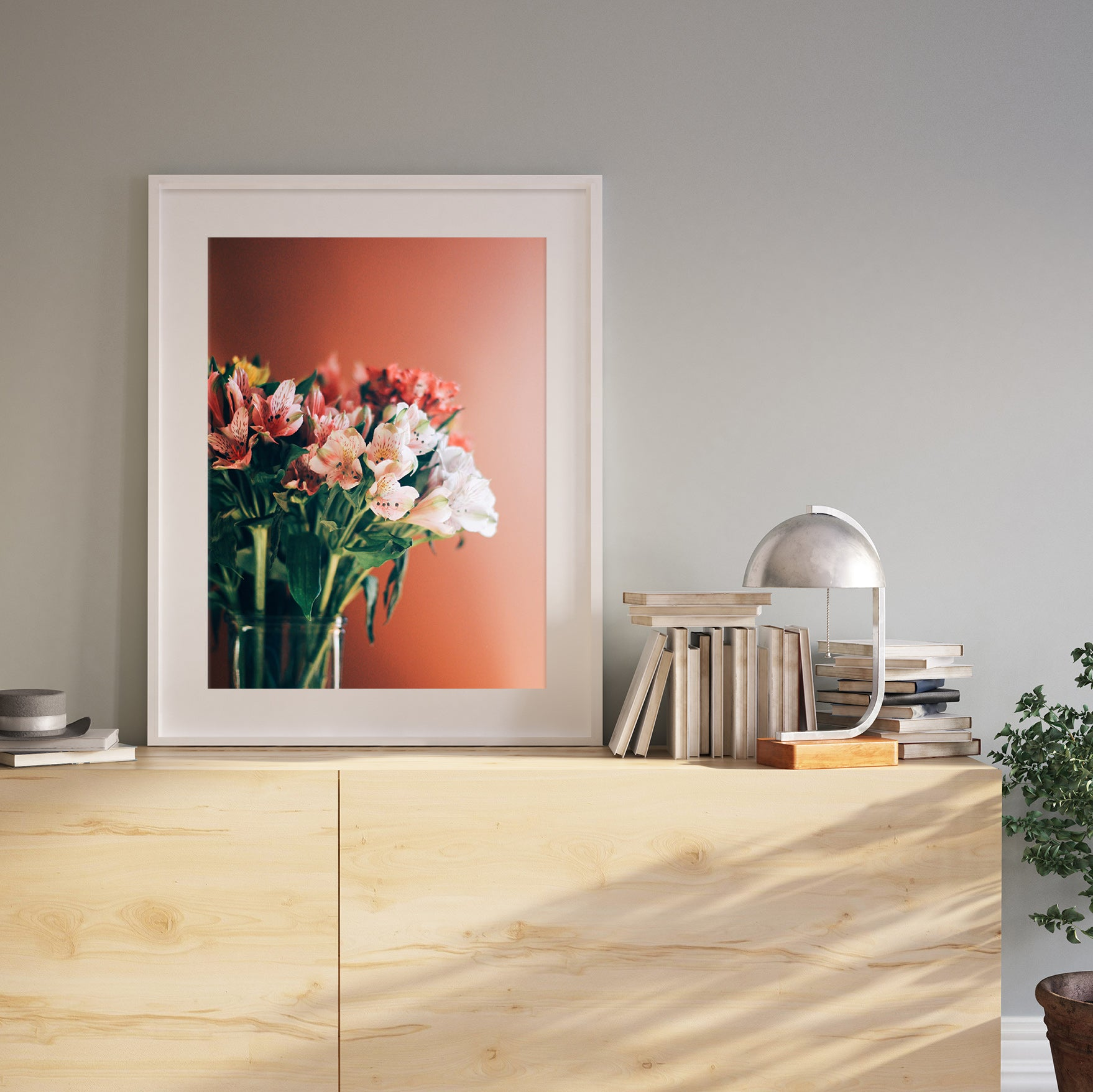 A Photo of a Vase of Flowers Printed and Framed by Posterjack