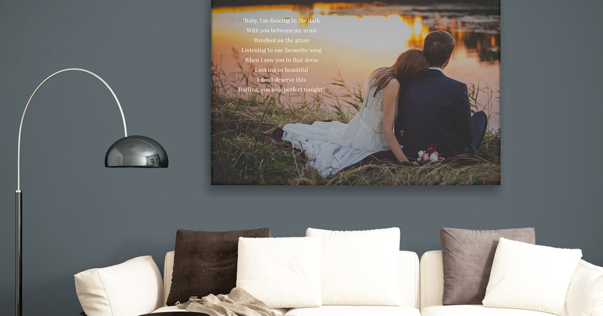 Custom Song Lyrics and Photo Printed on Canvas