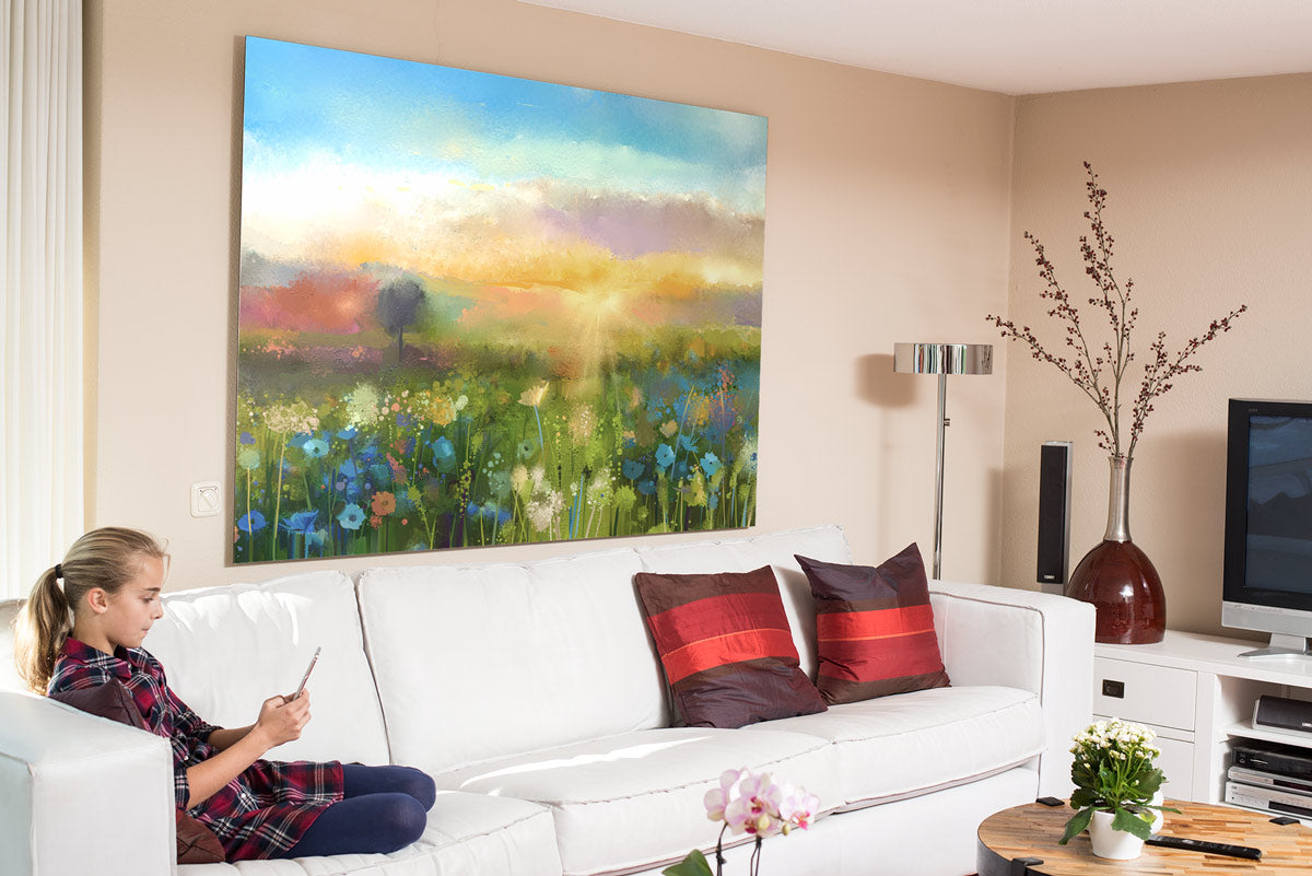 Large Metal Print of Original Artwork on Display in Living Room