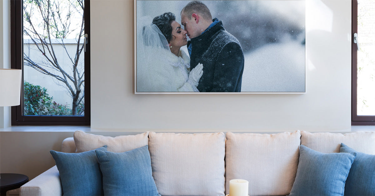 Wedding Photo Framed Canvas Print Displayed Above a Sofa