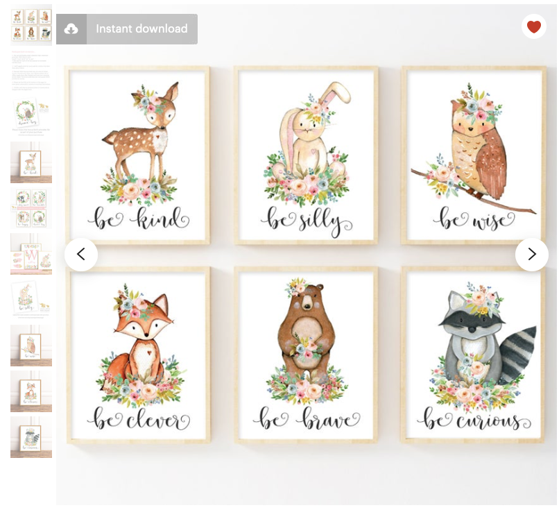 Woodland Creatures Digital Downloads - Favourites of Etsy