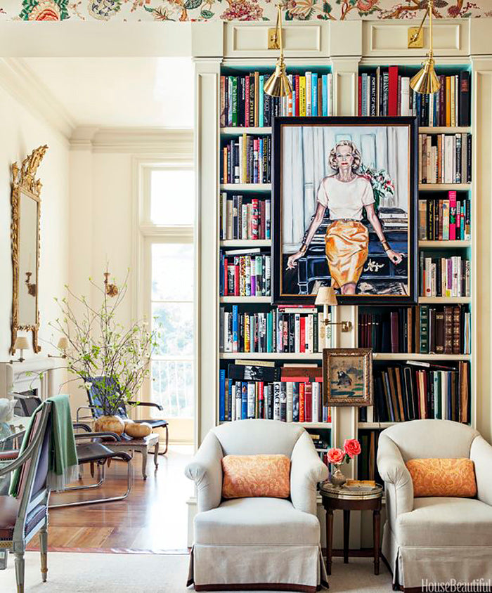 Decorating with art displayed on bookshelves