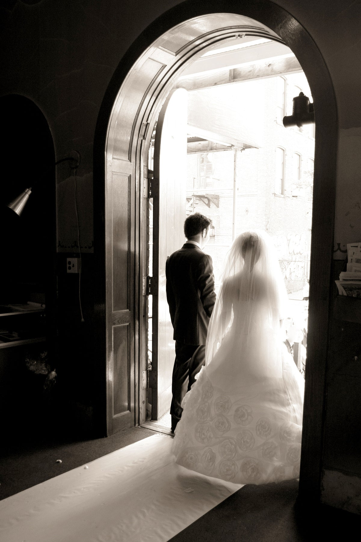 Example of using compositional framing in wedding photography