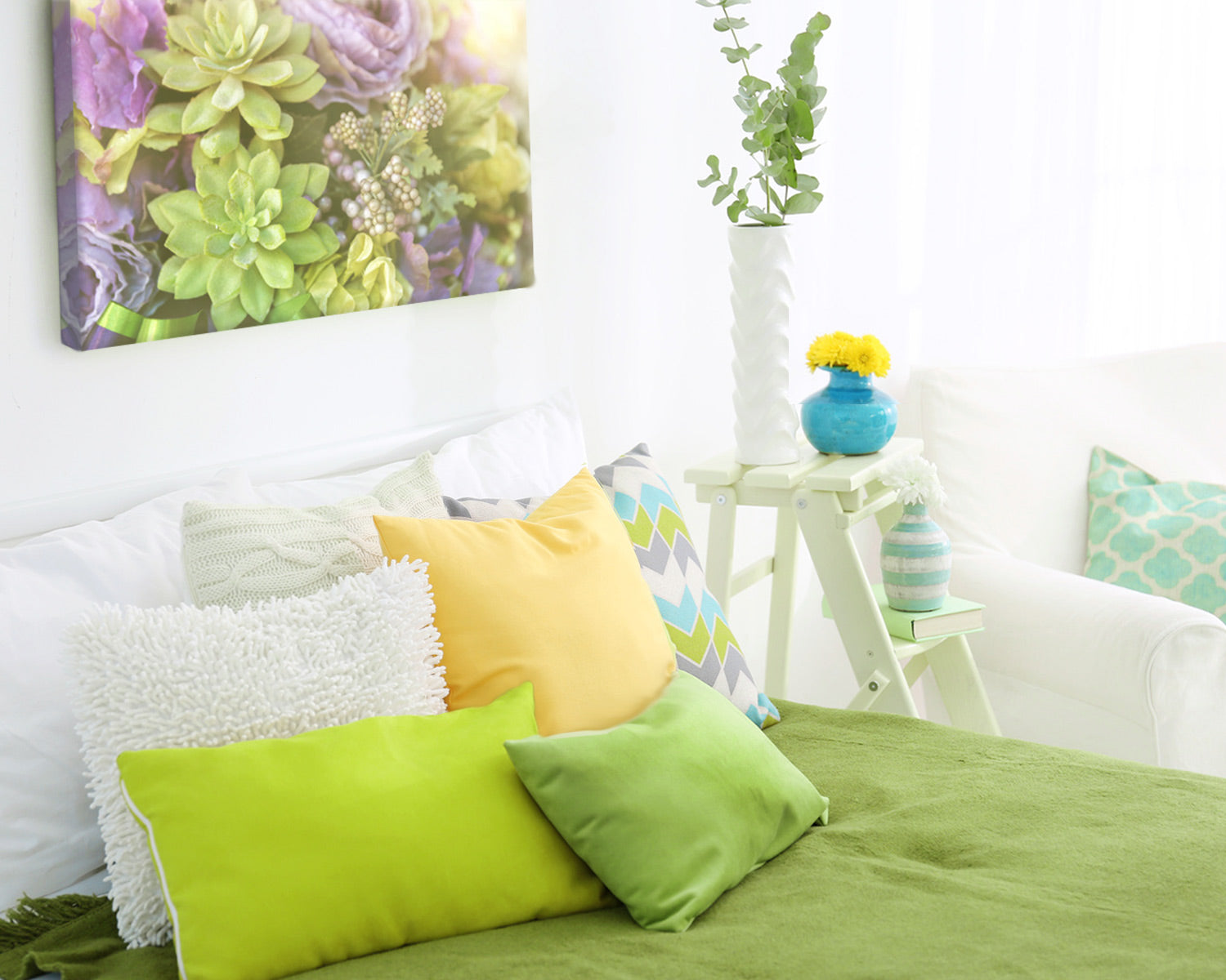 Beautiful bedroom decorated with green decor and a Posterjack Canvas Print