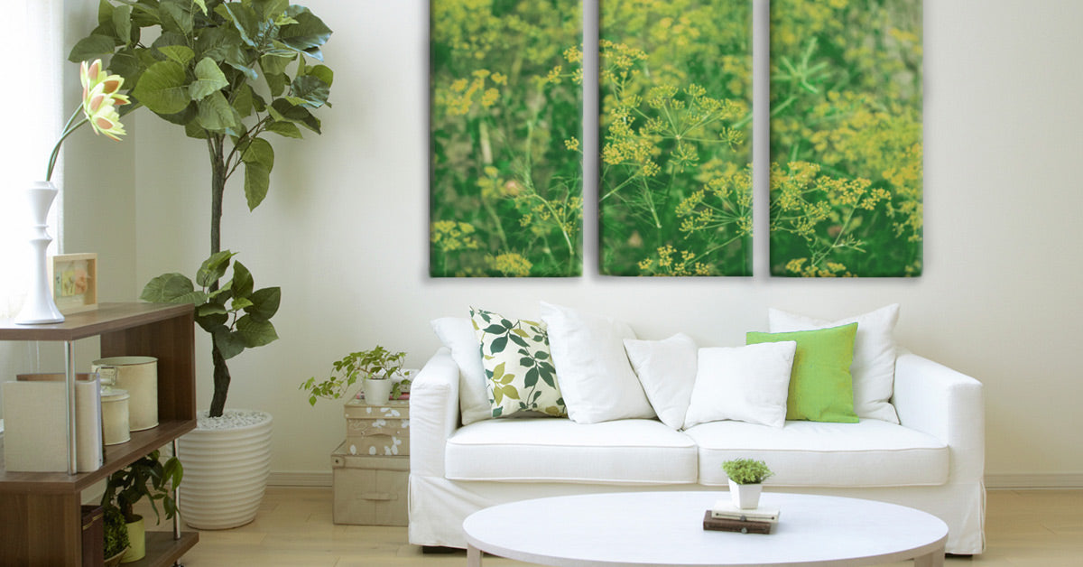 Interior decorating with greenery - room featuring a Posterjack three-panel Triptych Canvas Print