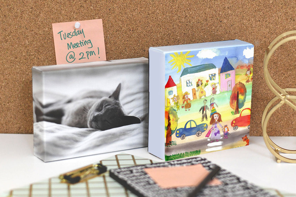 Posterjack Canvas Minis Displaying a Child's Artwork and Cat Photo