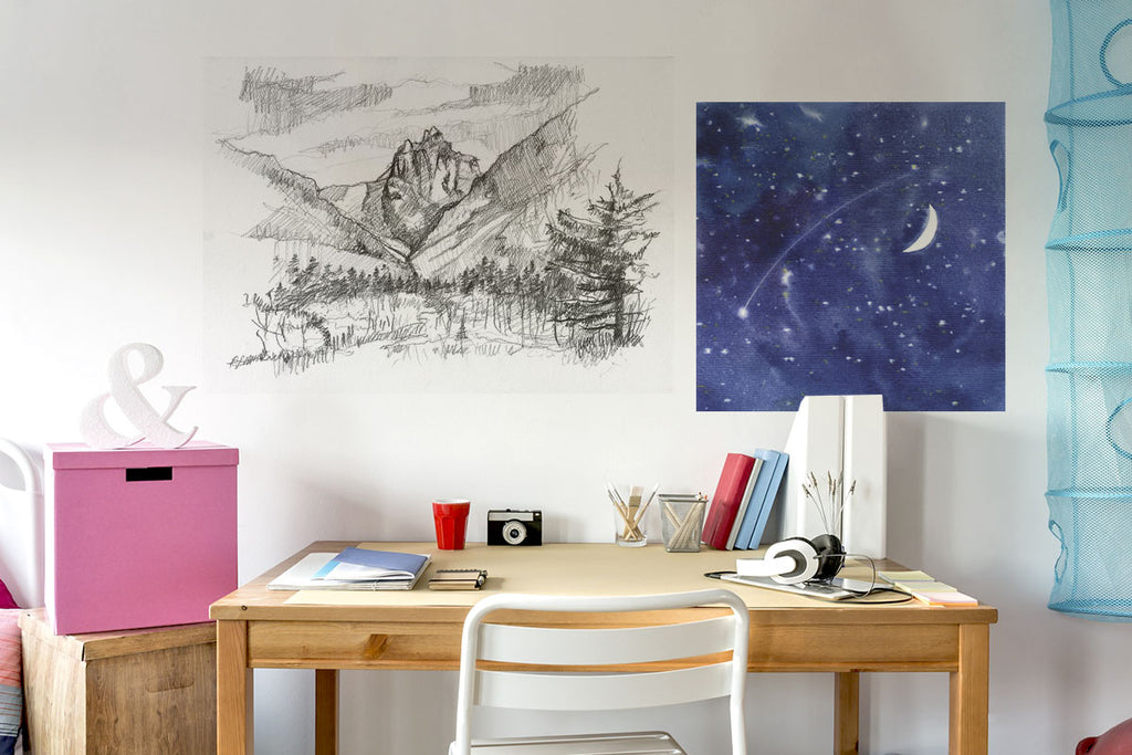 Posterjack Peel & Stick Wall Decals Displaying a Teenager's Artwork