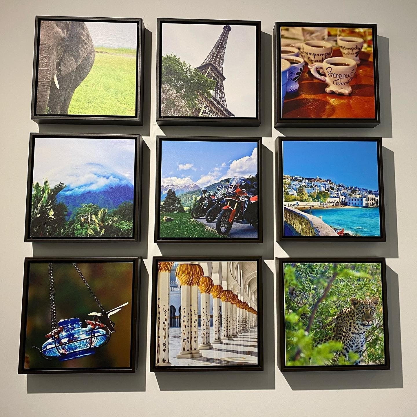 Gallery Wall of Travel Photos Printed by Posterjack - Shadow Box Floater Frames